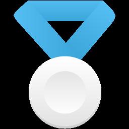 Silver metal blue icon